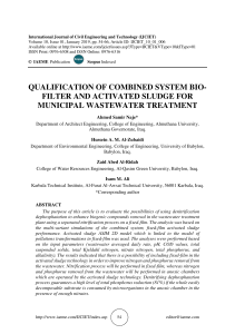 QUALIFICATION OF COMBINED SYSTEM BIO-FILTER AND ACTIVATED SLUDGE FOR MUNICIPAL WASTEWATER TREATMENT