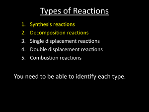 Reactions 2 - Synthesis-Decomposition