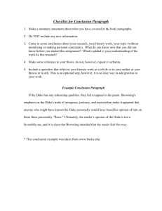 Checklist for Conclusion Paragraph