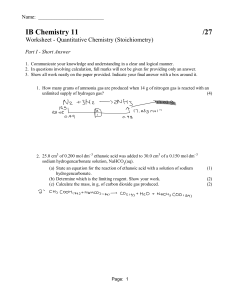 Worksheet - Quantitative Chemistry  Stoichiometry