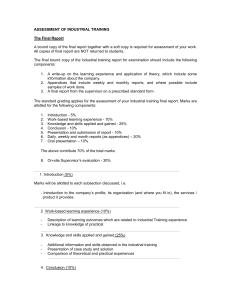 Appendix 4-ASSESSMENT OF INDUSTRIAL TRAINING