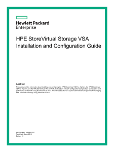 HPE StoreVirtual Storage VSA- Installation and conf guide
