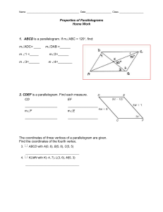 Properties of Parallelogram HW