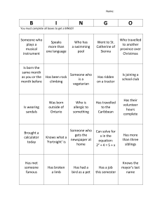 First day bingo