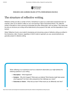 The structure of reflective writing - Research & Learning Online