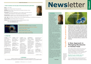 Newsletter 8. A New Approach in Managing Mycotoxins in Animal Feed