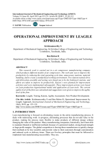 OPERATIONAL IMPROVEMENT BY LEAGILE APPROACH