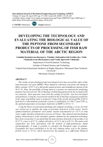 DEVELOPING THE TECHNOLOGY AND EVALUATING THE BIOLOGICAL VALUE OF THE PEPTONE FROM SECONDARY PRODUCTS OF PROCESSING OF FISH RAW MATERIAL OF THE ARCTIC REGION