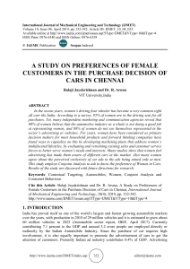 A STUDY ON PREFERENCES OF FEMALE CUSTOMERS IN THE PURCHASE DECISION OF CARS IN CHENNAI