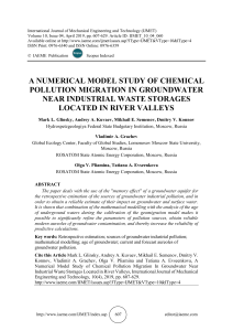 A NUMERICAL MODEL STUDY OF CHEMICAL POLLUTION MIGRATION IN GROUNDWATER NEAR INDUSTRIAL WASTE STORAGES LOCATED IN RIVER VALLEYS