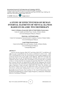 A STUDY OF EFFECTIVENESS OF HUMAN INTERNAL ELEMENTS OF MENTAL ILLNESS BASED ON ISLAMIC PSYCHOTHERAPY