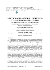 A REVIEW OF LEADERSHIP PERCEPTIONS STYLE OF CHAIRMAN IN CENTERS