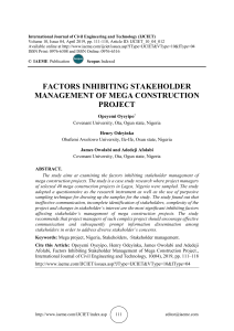 FACTORS INHIBITING STAKEHOLDER MANAGEMENT OF MEGA CONSTRUCTION PROJECT