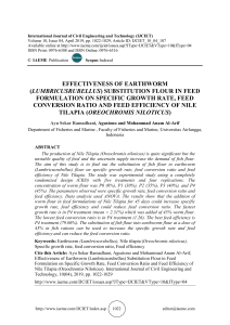 EFFECTIVENESS OF EARTHWORM (LUMBRICUSRUBELLUS) SUBSTITUTION FLOUR IN FEED FORMULATION ON SPECIFIC GROWTH RATE, FEED CONVERSION RATIO AND FEED EFFICIENCY OF NILE TILAPIA (OREOCHROMIS NILOTICUS)