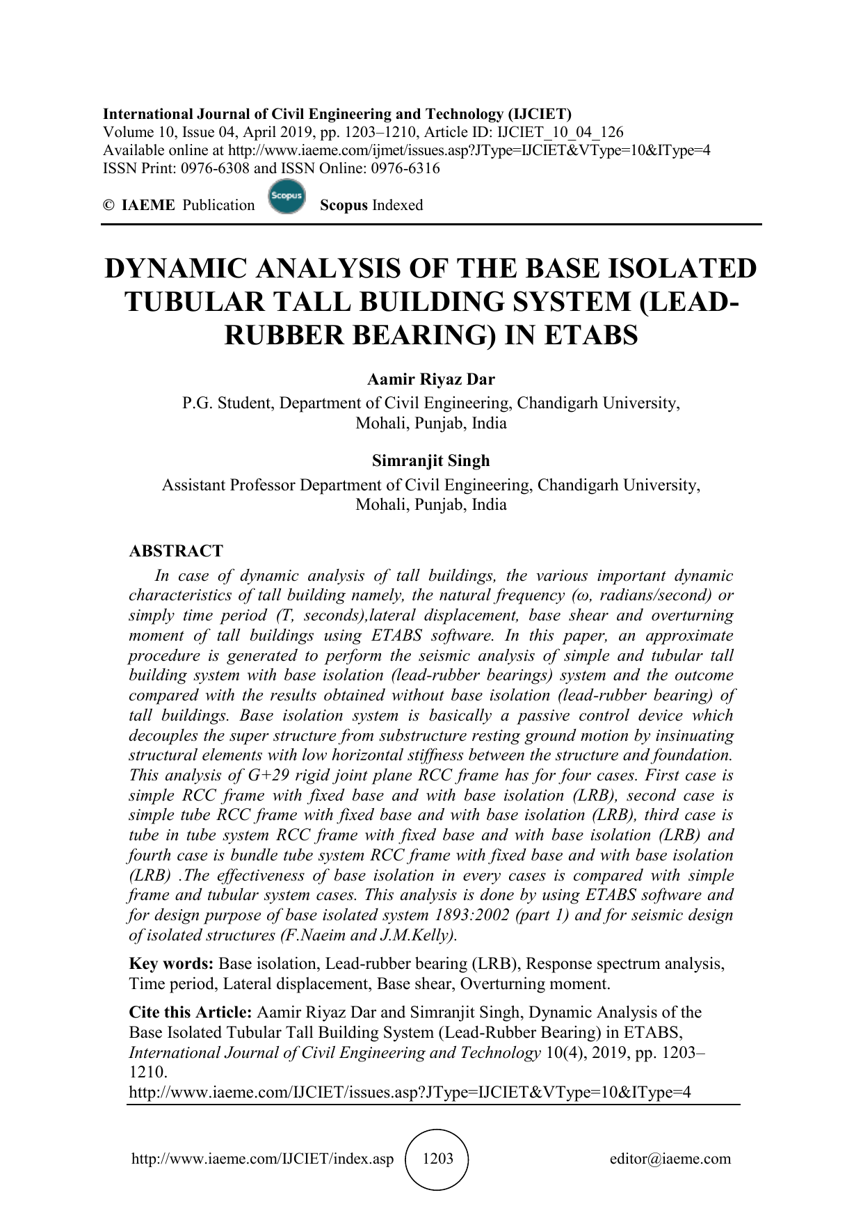 DYNAMIC ANALYSIS OF THE BASE ISOLATED TUBULAR TALL BUILDING