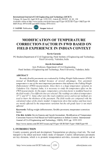 MODIFICATION OF TEMPERATURE CORRECTION FACTOR IN FWD BASED ON FIELD EXPERIENCE IN INDIAN CONTEXT