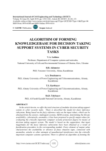 ALGORITHM OF FORMING KNOWLEDGEBASE FOR DECISION TAKING SUPPORT SYSTEMS IN CYBER SECURITY TASKS