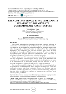 THE CONSTRUCTIONAL STRUCTURE AND ITS RELATION TO FORM IN LATE CONTEMPORARY ARCHITECTURE