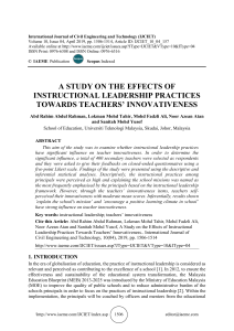 A STUDY ON THE EFFECTS OF INSTRUCTIONAL LEADERSHIP PRACTICES TOWARDS TEACHERS' INNOVATIVENESS
