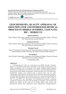 GEOCHEMISTRY, QUALITY APPRAISAL OF GROUNDWATER AND HYDROGEOCHEMICAL PROCESS IN MIDDLE OUERRHA, TAOUNATE, RIF – MOROCCO