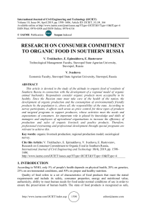 RESEARCH ON CONSUMER COMMITMENT TO ORGANIC FOOD IN SOUTHERN RUSSIA