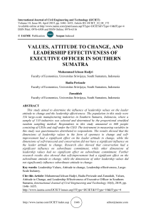 VALUES, ATTITUDE TO CHANGE, AND LEADERSHIP EFFECTIVENESS OF EXECUTIVE OFFICER IN SOUTHERN SUMATRA