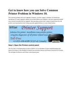 Get to know how you can Solve Common Printer Problem in Windows 10
