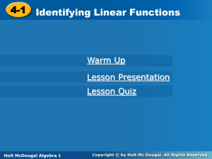 4-1 Identifying Linear Functions
