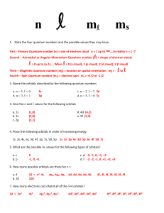 1.5.1-QUANTUM NUMBERS WORKSHEET KEY