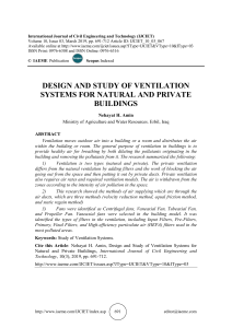 DESIGN AND STUDY OF VENTILATION SYSTEMS FOR NATURAL AND PRIVATE BUILDINGS