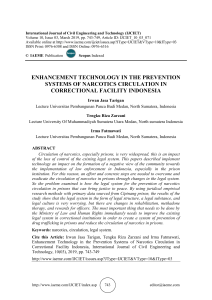 ENHANCEMENT TECHNOLOGY IN THE PREVENTION SYSTEMS OF NARCOTICS CIRCULATION IN CORRECTIONAL FACILITY INDONESIA