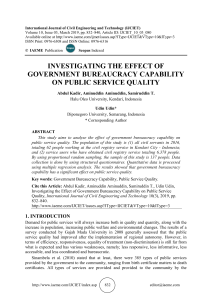 INVESTIGATING THE EFFECT OF GOVERNMENT BUREAUCRACY CAPABILITY ON PUBLIC SERVICE QUALITY