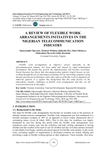 A REVIEW OF FLEXIBLE WORK ARRANGEMENTS INITIATIVES IN THE NIGERIAN TELECOMMUNICATION INDUSTRY