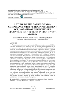 A STUDY OF THE CAUSES OF NON-COMPLIANCE WITH PUBLIC PROCUREMENT ACT, 2007 AMONG PUBLIC HIGHER EDUCATION INSTITUTIONS IN SOUTHWEST, NIGERIA