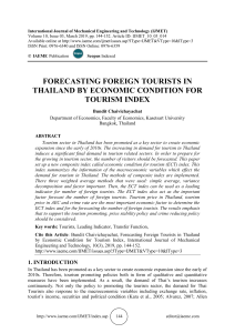FORECASTING FOREIGN TOURISTS IN THAILAND BY ECONOMIC CONDITION FOR TOURISM INDEX