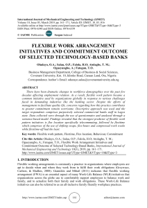 FLEXIBLE WORK ARRANGEMENT INITIATIVES AND COMMITMENT OUTCOME OF SELECTED TECHNOLOGY-BASED BANKS