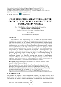 COST REDUCTION STRATEGIES AND THE GROWTH OF SELECTED MANUFACTURING COMPANIES IN NIGERIA