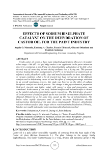 EFFECTS OF SODIUM BISULPHATE CATALYST ON THE DEHYDRATION OF CASTOR OIL FOR THE PAINT INDUSTRY