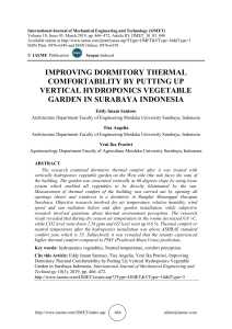IMPROVING DORMITORY THERMAL COMFORTABILITY BY PUTTING UP VERTICAL HYDROPONICS VEGETABLE GARDEN IN SURABAYA INDONESIA