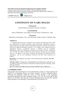 CONTINUITY ON N-ARY SPACES