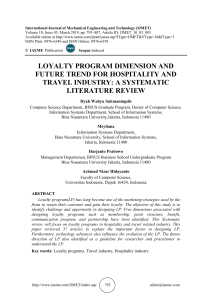 LOYALTY PROGRAM DIMENSION AND FUTURE TREND FOR HOSPITALITY AND TRAVEL INDUSTRY: A SYSTEMATIC LITERATURE REVIEW