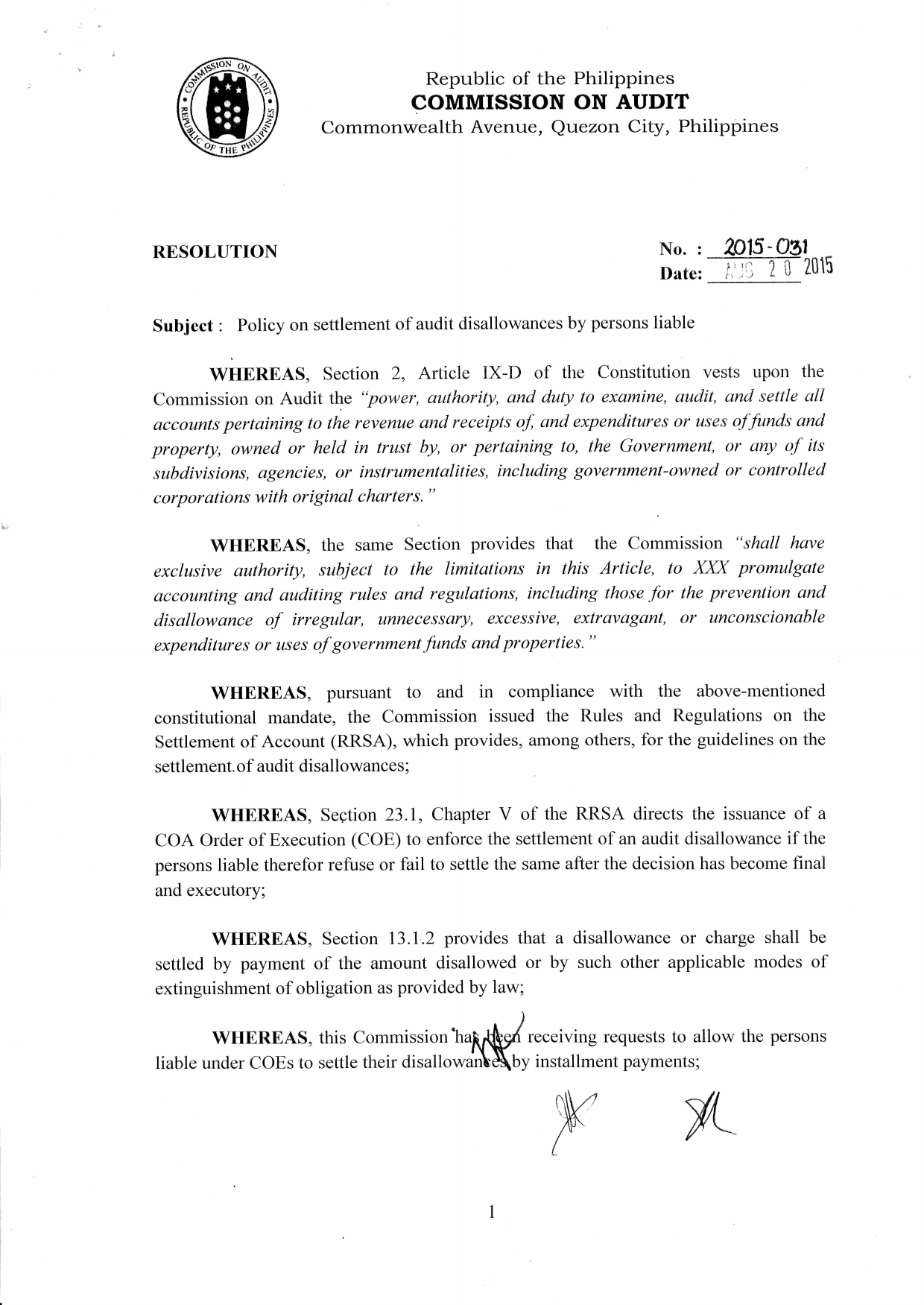 COA Resolution no  2015-031on Request for Payment in