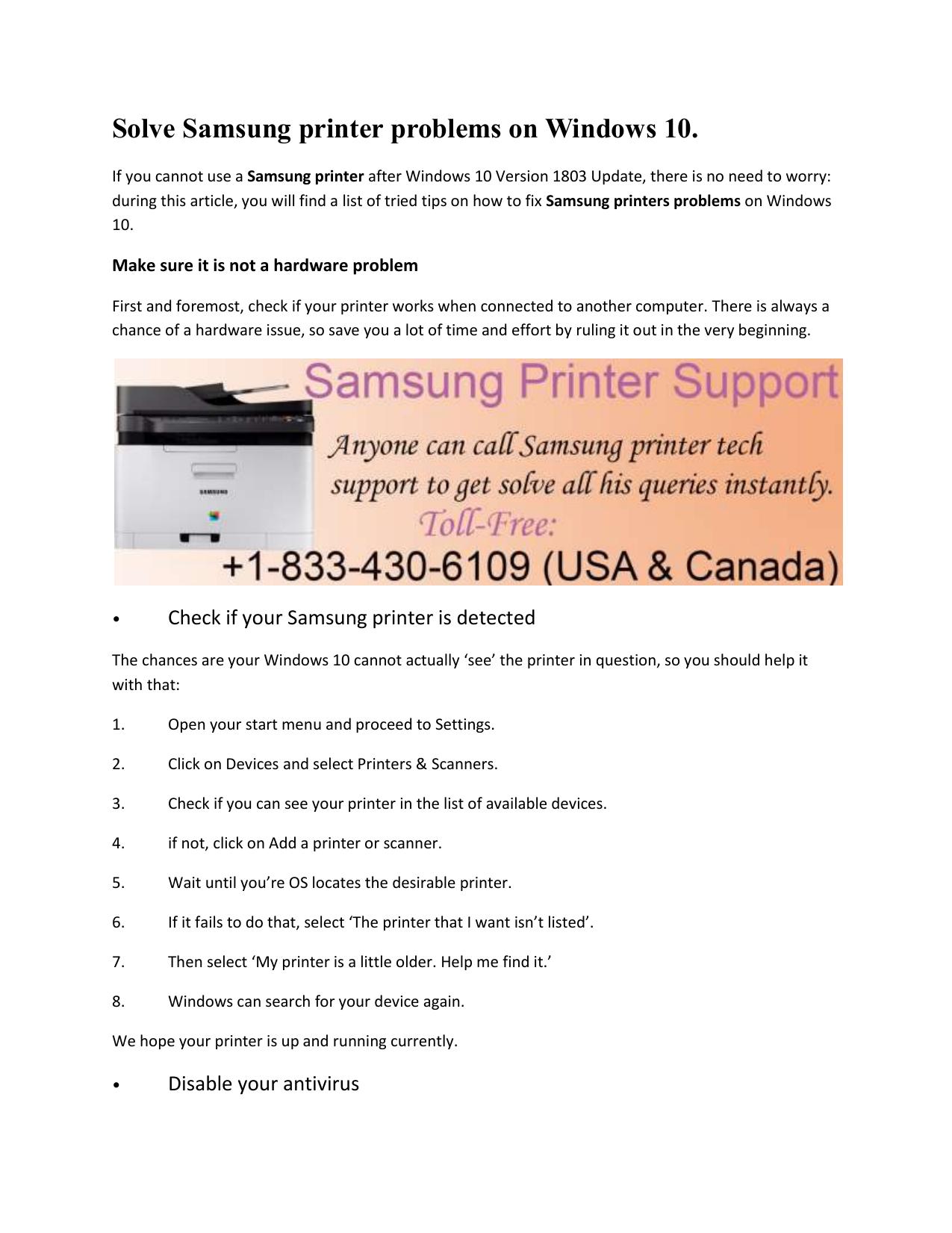 Solve Samsung printer problems on Windows 10