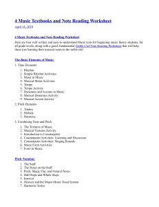 4 Music Textbooks and Note Reading Worksheet