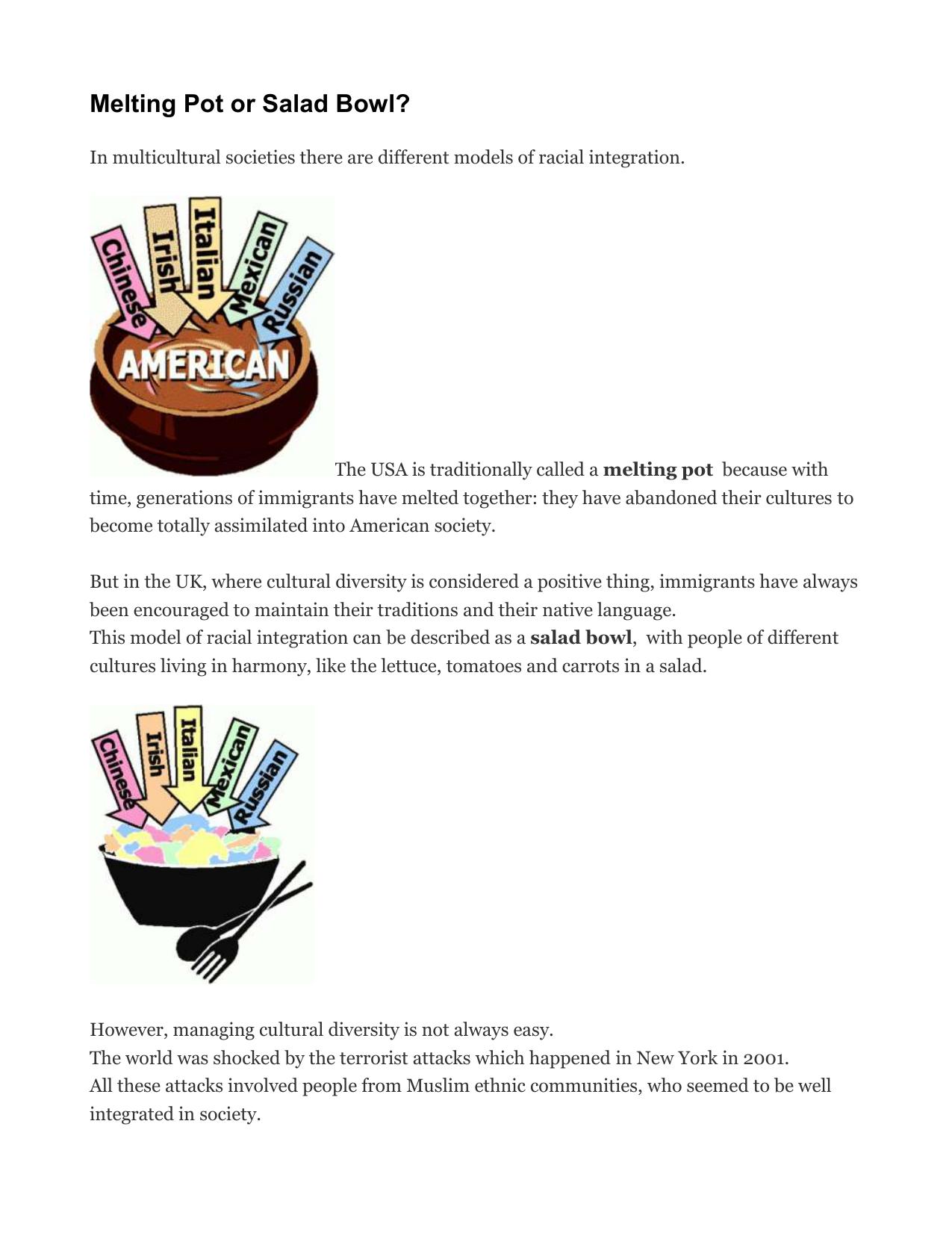 Salad bowl vs melting pot essay free resume for warehouse manager