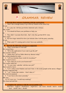 GRAMMAR REVIEW BAC2