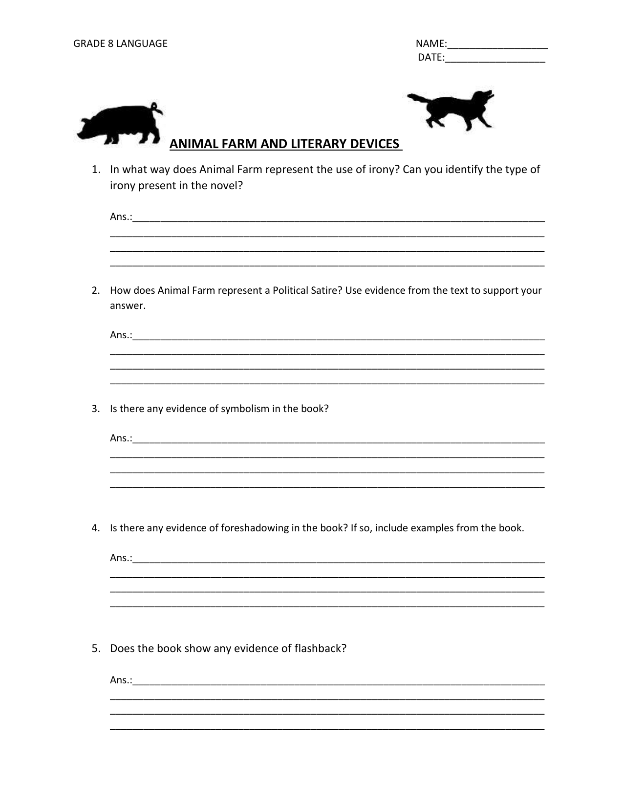 Animal Farm And Literary Devices