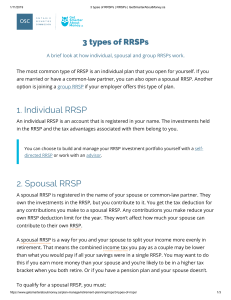 3 types of RRSPs