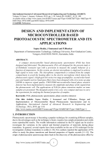 DESIGN AND IMPLEMENTATION OF MICROCONTROLLER BASED PHOTOACOUSTIC SPECTROMETER AND ITS APPLICATIONS