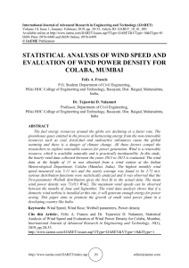 STATISTICAL ANALYSIS OF WIND SPEED AND EVALUATION OF WIND POWER DENSITY FOR COLABA, MUMBAI